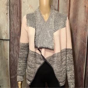 Candies Soft Gray & Pink Cardigan Sweater